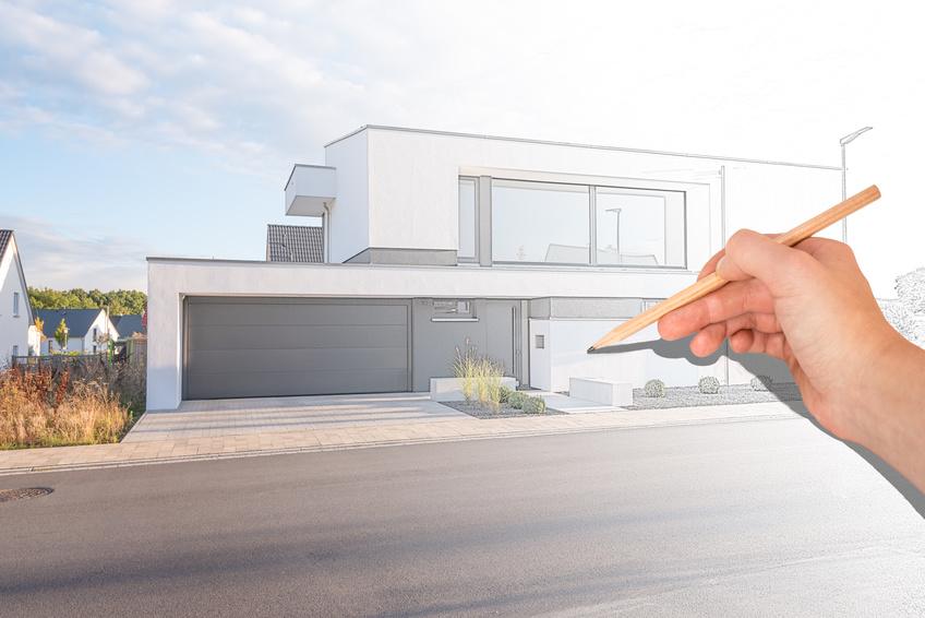 Architekt plant modernes Wohnhaus